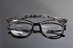 DEDING Retro Round Clear Lens Eyeglasses (gray tortoise , clear )