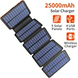 Solar Charger 25000mAh, 5 Solar Panel QI Wireless Outdoor Portable Power Bank - Waterproof Fast Charge External Battery Pack with Dual 2.1A Output USB for Cell Phones Tablet GoPro Camera (Color: Black, Tamaño: Small)