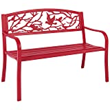 Best Choice Products Steel Patio Garden Park Bench Outdoor Living Patio Furniture, Rose Red (Color: Rose Red)