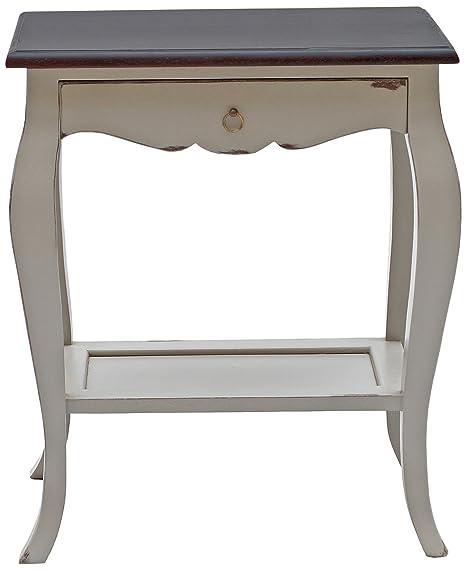 "Ideal para sentarse muebles 9755-97 mesa auxiliar ""SPA"", madera de Acacia, color gris, 1 cajón, 1 armario de suelo, 59 x 36 x 71 cm"