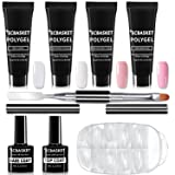 ECBASKET PolyGel Nail Kit Gel Nail Extension Professional Poly Gel Kit Gel Nail Enhancement Builder System All-in-One Nail Technician French Kit