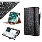 WWW iPad 9.7 2018/2017 Case, [Luxury Laser Flower] Premium PU Leather Case Protective Cover with Auto Wake/Sleep Feature for the Apple iPad 9.7 iPad 5th/6th Generation Black (Color: A-Black, Tamaño: 9.7 Inch)