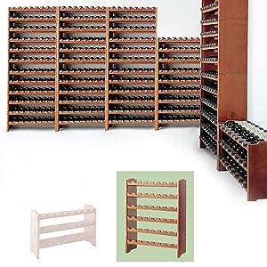 Weinregal / Flaschenregal System MEDOC, Modul 2 für 48 Fl., Holz Kiefer dunkelbraun, stapelbar / erweiterbar  H 87,5 x B 68 x T 27 cm  BaumarktBewertungen