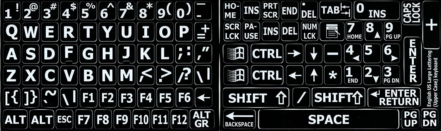 ENGLISH US LARGE UPPER CASE NON-TRANSPARENT STICKER BLACK BACKGROUND FOR DESKTOP, LAPTOP AND NOTEBOOK waterproof russian keyboard stickers english french letter alphabet layout sticker for laptop desktop computer