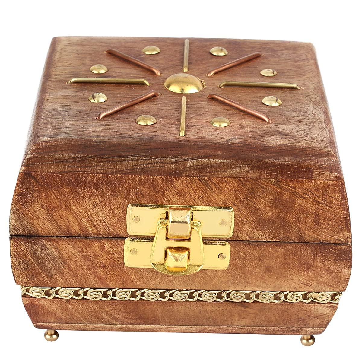 "GoCraft Wooden Jewelry Box Keepsake Organizer - Handmade with elegant Brass metal design - 4"" X 4"""