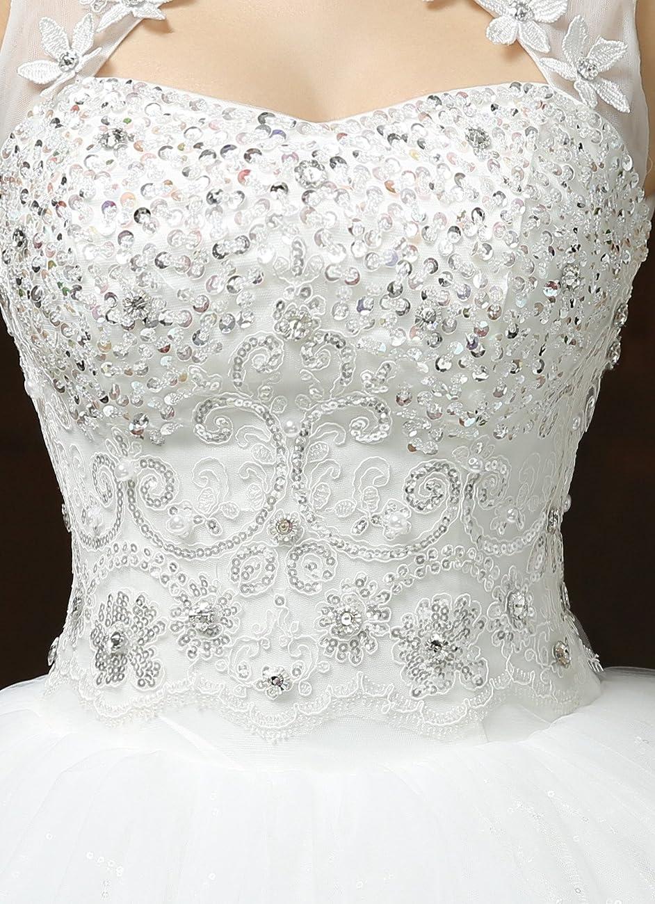 Clover Bridal Vintage High Collar Pearl Wedding Dress for Bride White Under 100 3