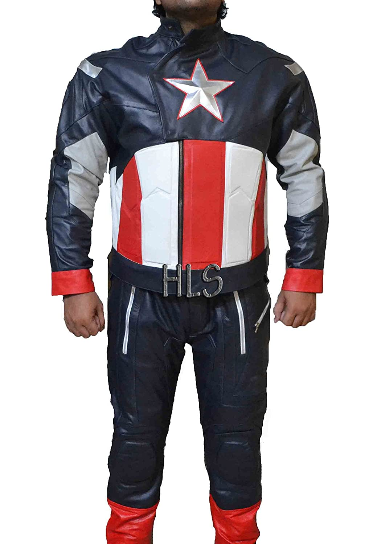 CAPTAIN AMERICA CHRIS EVANS AVENGER1 CA COWHIDE LEATHER SUIT-BEST HALLOWEEN COSTUME