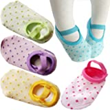 FlyingP Toddler Anti Slip Socks 5 Pairs Baby Socks for 8-36 Months Infants Baby Girl Mary Jane No-Show Crew Boat Ankle Socks Footsocks sneakers