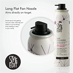 Style Edit Black Root Concealer Touch Up Spray | Instantly Covers Grey Roots | Professional Salon Quality Cover Up Hair Products for Women | Black 2 Ounce (Pack of 4) (Color: Black, Tamaño: Pack of 4)