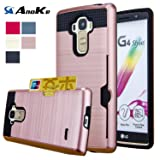 LG G Stylo Case, LG G4 Stylus Case, (Not Fit LG G4) AnoKe [Credit Card Slots Holder][Not Wallet] Hard Silicone Rubber Hybrid Armor Shockproof Protective Holster Cover Case For LG LS770 - KLS Rose Gold (Color: KLS Rose Gold)