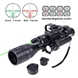 Hiram Parallax Adjustable 4-16x50EG Rifle Scope Combo with Green Laser, Reflex Sight, and 5 Brightness Modes Flashlight (Color: black, Tamaño: 4-16x50)
