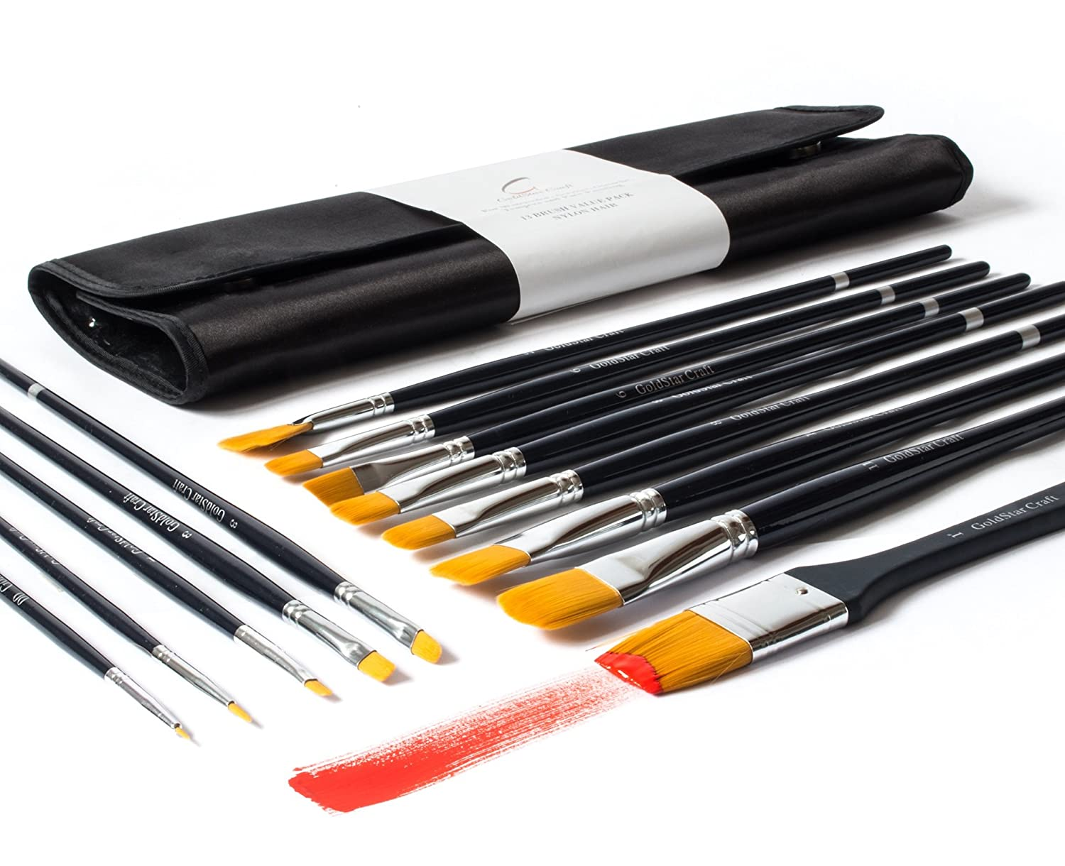 13pcs Paint Brush Set By Goldstar Craft - Art Supplies for Acrylic, Watercolor, & Face Painting - Professional Quality Kit