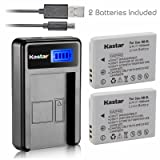 Kastar Battery (X2) & LCD USB Charger for Canon NB-5L and Powershot S100 S110 SX230 HS SX210 IS SD790 IS SX200 IS SD800 IS SD850 IS SD870 IS SD700 IS SD880 IS SD950 IS SD890 IS SD970 IS SD990 IS (Tamaño: 1 LCD charger + 2 batteries)