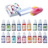 Natural Food Coloring and Soap Dye -Bundle of 18 (10ml) Liquid Bath Bomb Colorant 30 Wrap Bags 1 Sealer- Food Grade Skin Safe Dye for Slime Pigment Food Dye Bath Bombs DIY Making Crafts Supplies (Color: 18 Pack)