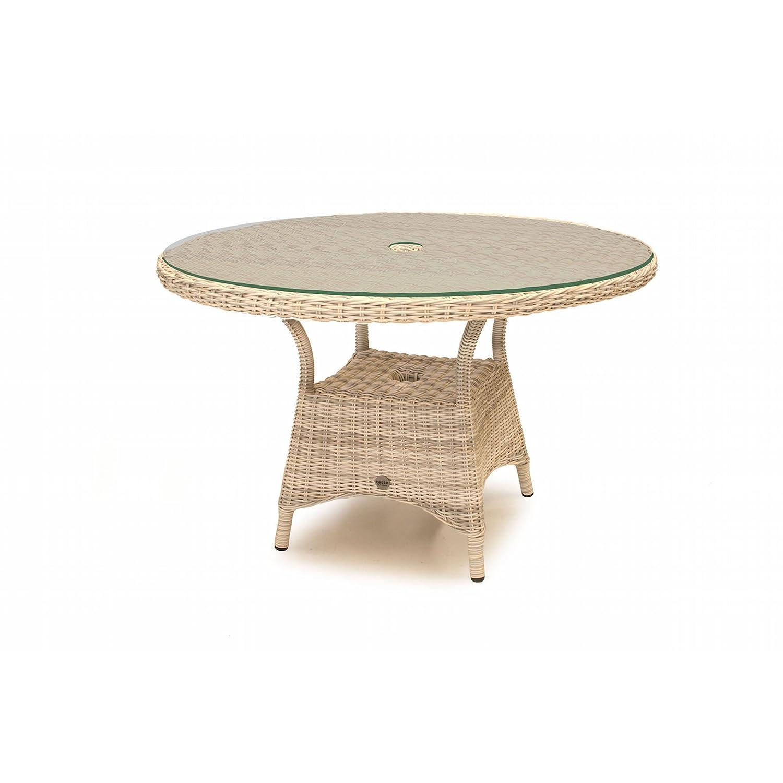Aqua-Saar Dining Tisch Paris rund 120 cm mit Glasplatte Polyrattan Elzas AS18598 günstig kaufen
