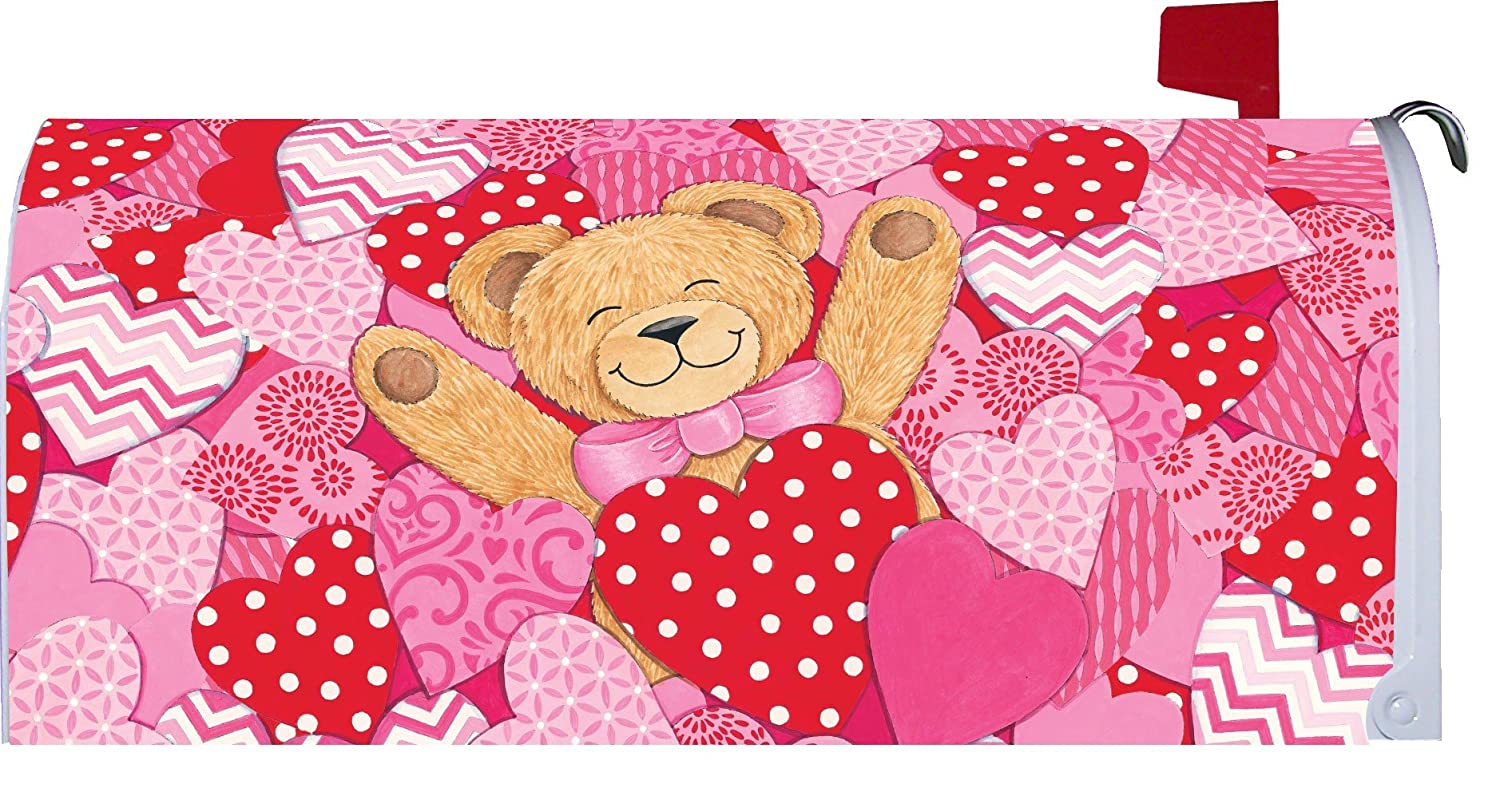 Bear Hearts Happy Valentine's Day Magnetic Mailbox Cover