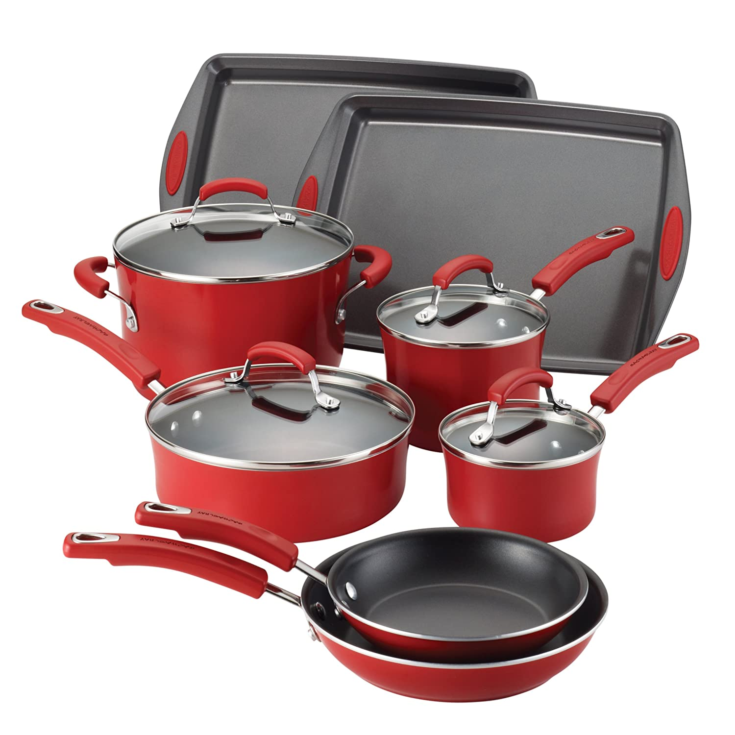 of Rachael Ray Porcelain Enamel II Nonstick 12-Piece Cookware Set Red ...