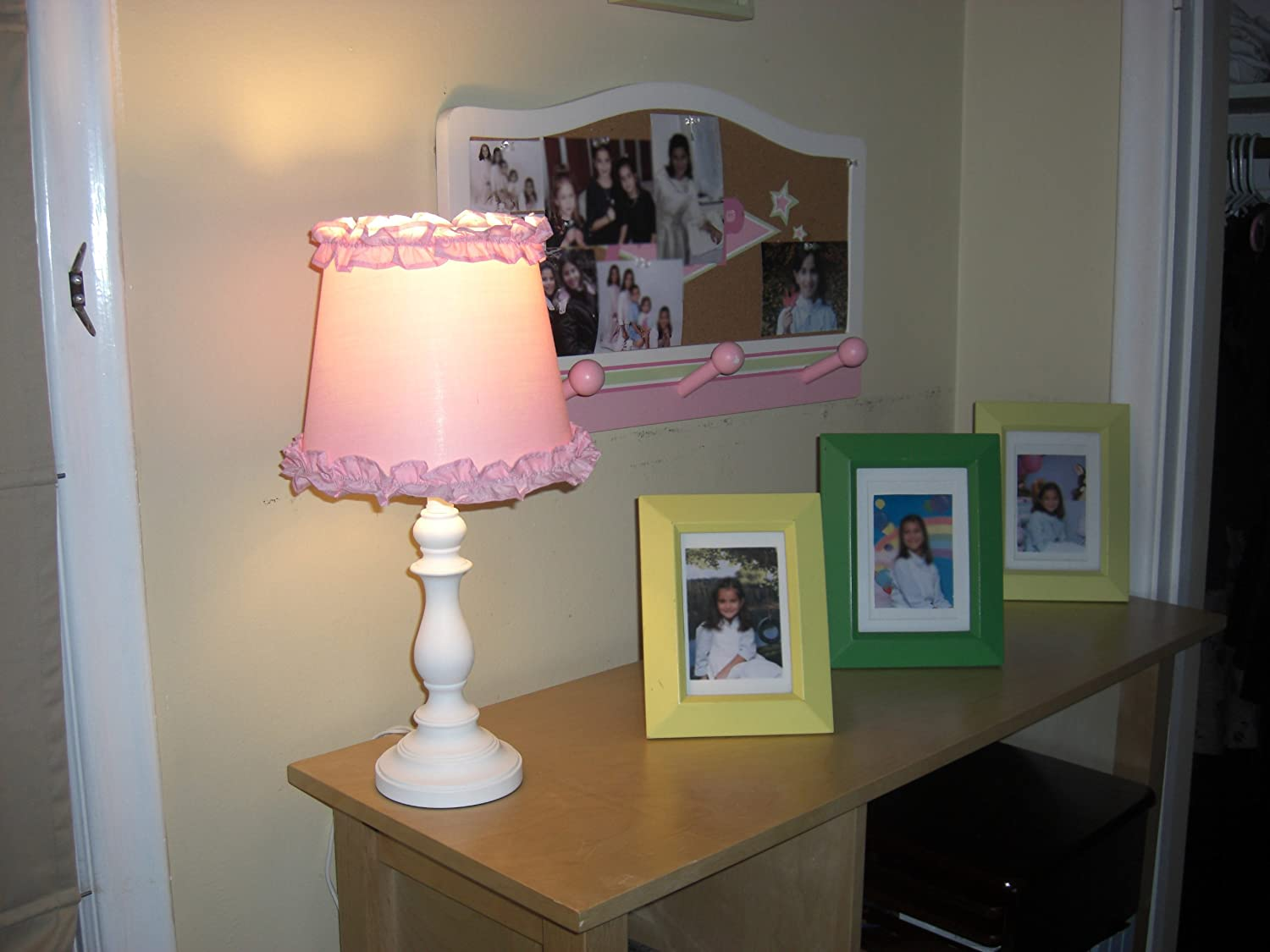Princess 'Girls Table or Desk Lamp with Pink Ruffle Shade