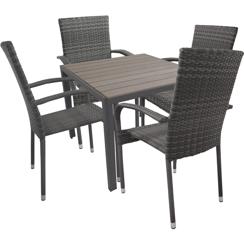 5tlg Elegante Aluminium Polywood Non Wood Balkonmöbel Gartentisch