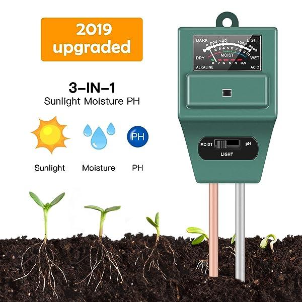 3 in1 Soil Water PH Moisture Sunlight Test Meter Digital Analyzers For Garden
