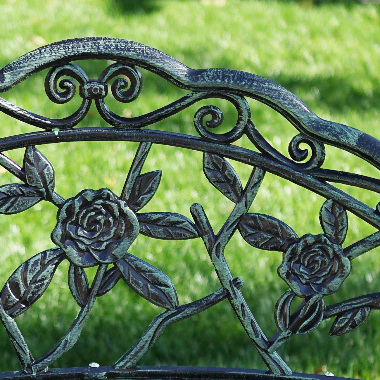 Belleze Cast Iron Antique Rose Style Design Outdoor Patio Garden Park Bench, Green 1