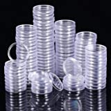 25 mm Coin Holder Capsules Clear Round Plastic Coin Container Case for Coin Collection Supplies (100) (Tamaño: 25 mm)