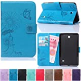 Galaxy Tab 4 7.0 Case,Artyond PU Leather Protect Cover [Magnet Closure] Butterfly Embossed Cards Slots Wallet Case With [Auto Wake/Sleep Function] Stand Case For Samsung Galaxy Tab 4 7.0 SM-T230(blue) (Color: 05 blue)