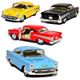Kinsmart Set of 4: 1957 Chevy Bel Air Coupe 1:40 Scale (Black/Blue/Red/Yellow) by