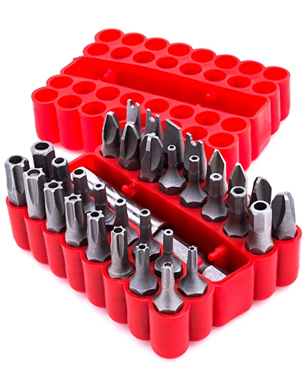 Bastex,Tamper Proof Security Screw Hex Bit Head Set 1/4 Drive (33 pc), Includes Hollow Tips, Spanner, Torx,Red Plastic Carrying Case Included.