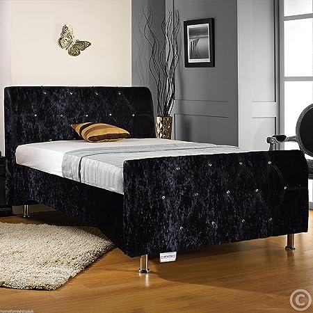 Hf4you Sterling Crushed Velvet Fabric Diamante Bed Frame - 5FT Kingsize - Black - Sprung Memory Foam Mattress Mattress