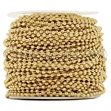 CleverDelights Ball Chain Roll - 30 Feet - Champagne Gold Color - 2.4mm Ball - #3 Size (Color: Gold, Tamaño: 2.4mm)