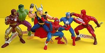 Marvel Avengers Set 6 Figurine Captain America Thor Hulk Ironman Daredevil Spiderman. Taille 9 - 12 cm