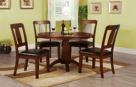 Furniture of America Randall 5-Piece Round Pedestal Dining Table Set, Antique Dark Oak Finish