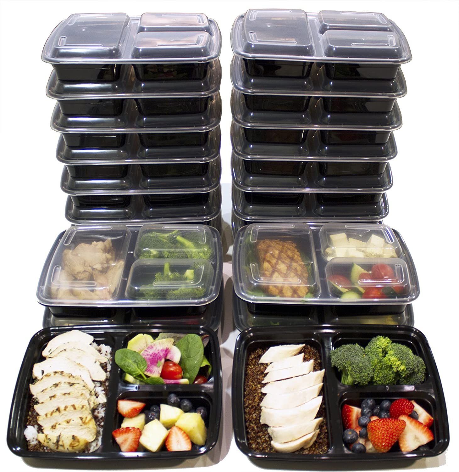 Misc Home 20-pack 3-Compartment Meal Prep Containers
