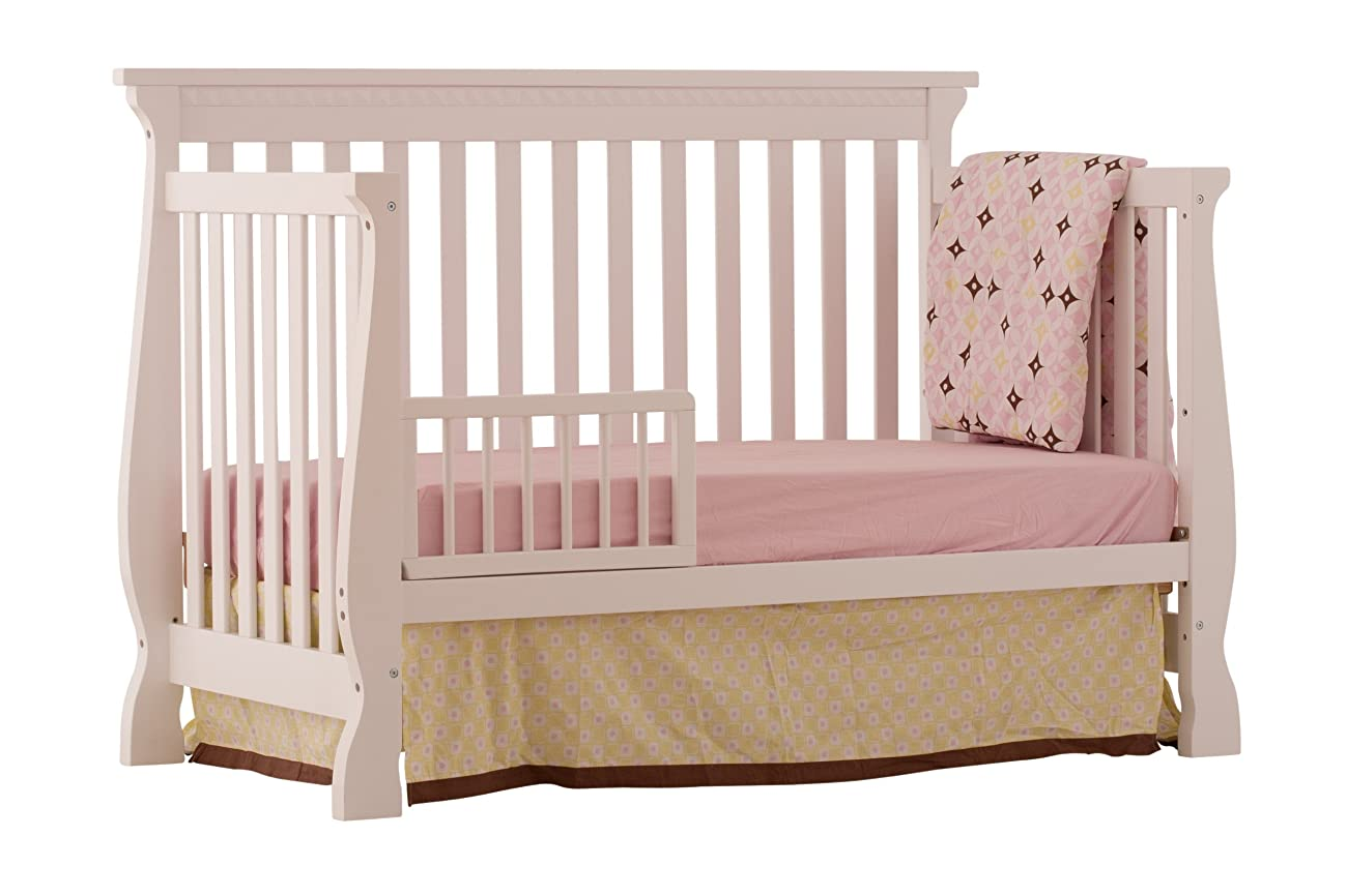 Stork Craft Venetian 4-in-1 Fixed Side Convertible Crib, White 2