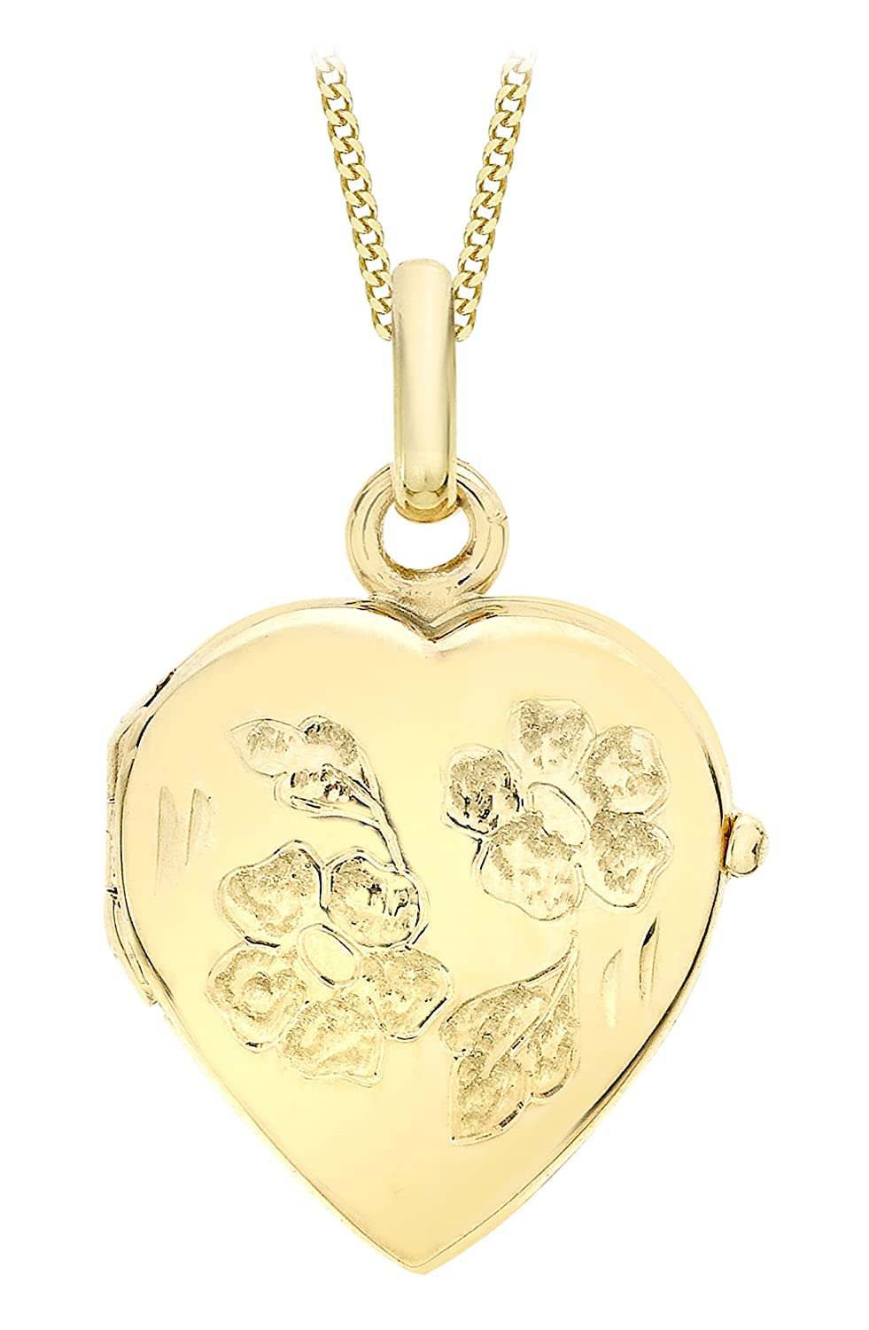 Carissima Gold Damen-Kette mit Anhänger 9ct Heart Daisy Locket Pendant on Curb Chain 375 Gelbgold 46 cm – 1.43.7274 schenken