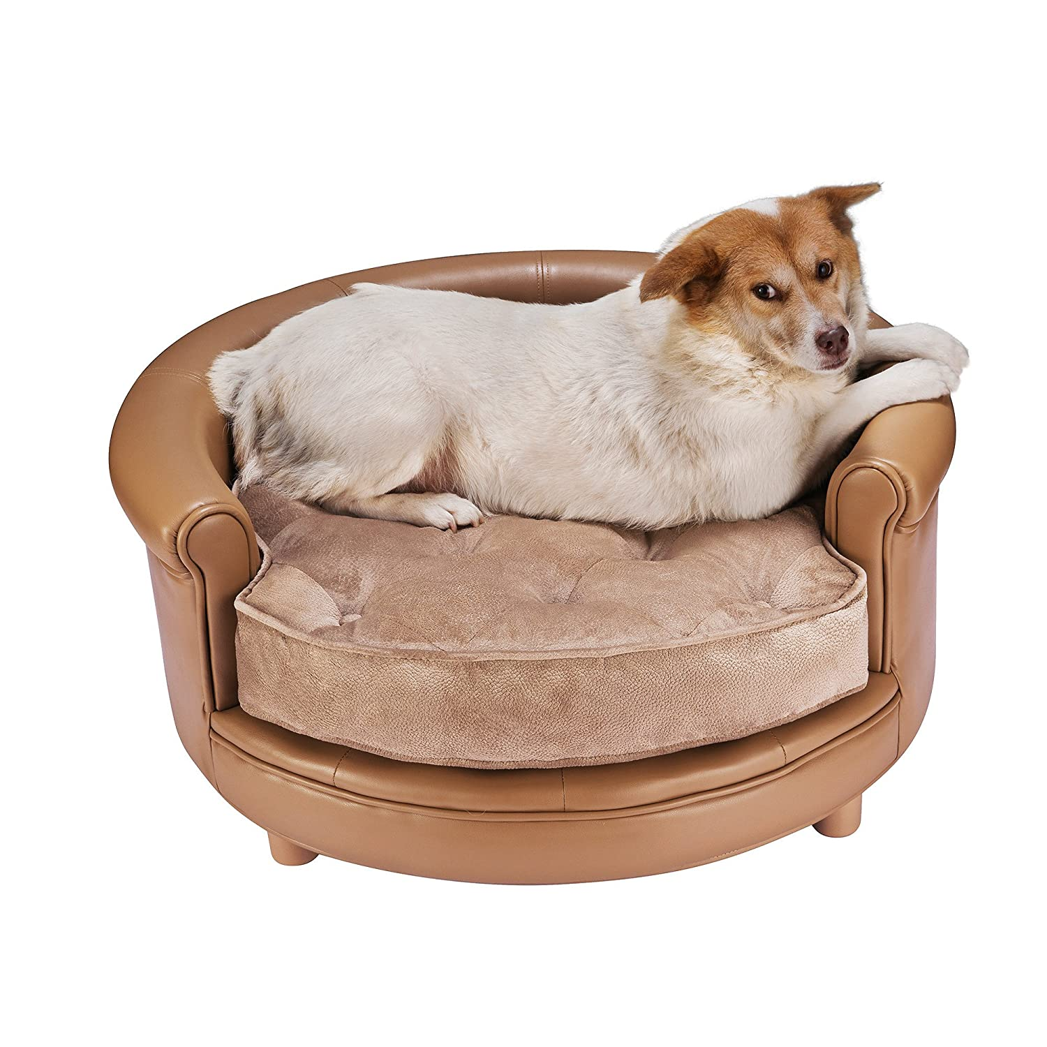 Real Leather Large Dog Bed Designer Pet Sofa