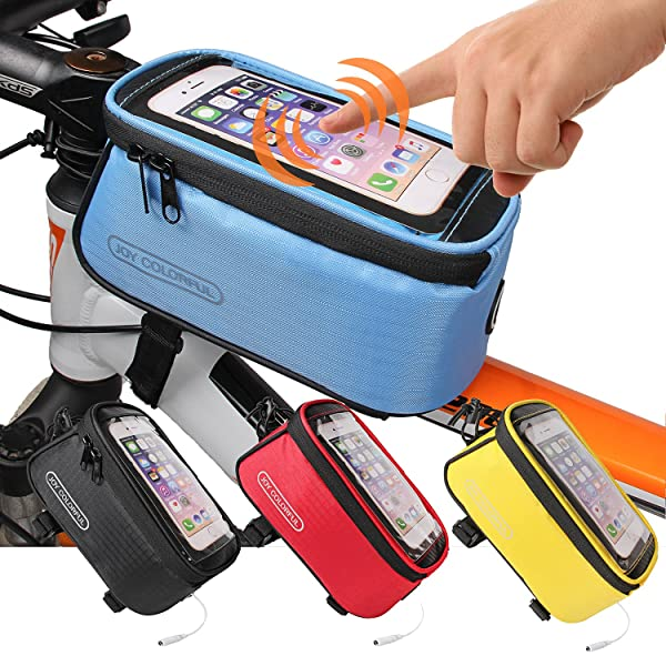 JOY COLORFUL Bicycle Bags Front Tube Frame Cycling Packages Touch Screen Mobile
