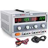 Dr.meter Triple Linear DC Power Supply 30V 5A, Input voltage 104-127V, Alligator to Banana and AC Power Cable Included (Color: HY3005F-3, Tamaño: HY3005F-3)