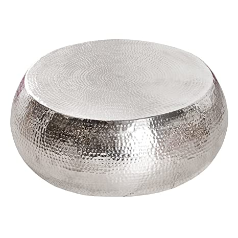 Design Couchtisch ORIENT 90cm Aluminium silber Hammerschlag Optik Unikat Tisch Handarbeit