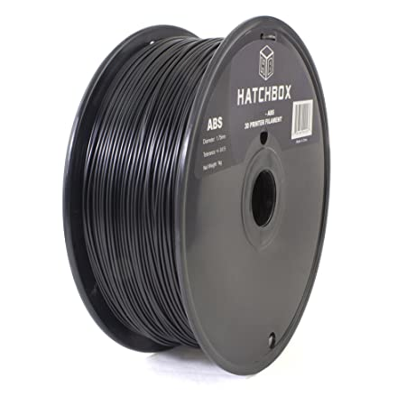 HATCHBOX 1.75mm Black ABS 3D Printer Filament - 1kg