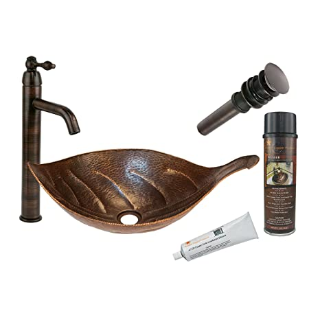 """21.25"""" x 12"""" Leaf Vessel Hammered Copper Kitchen Sink with Faucet"""
