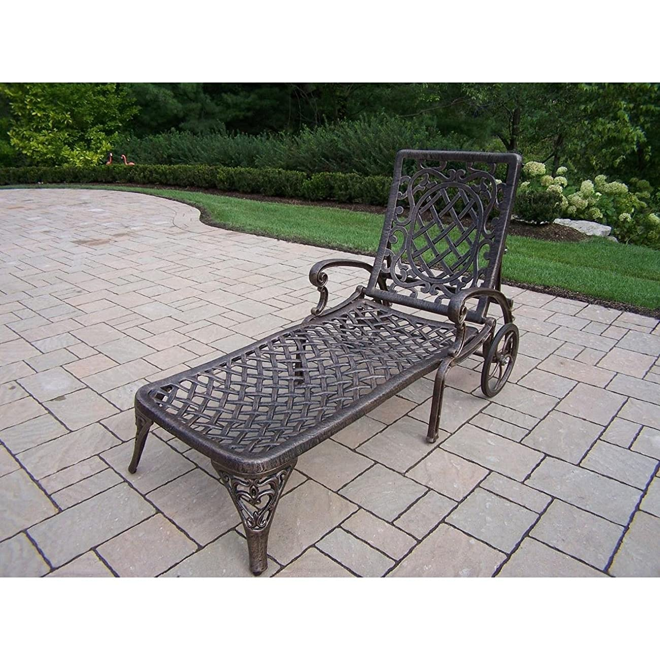 Oakland Living Mississippi Cast Aluminum Chaise Lounge, Antique Bronze 0