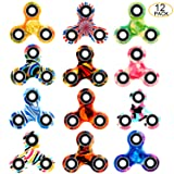 SCIONE Fidget Spinner 12 Pack ADHD Stress Relief Anxiety Toys Best Autism Fidgets Spinners for Adults Children Finger Toy with Bearing Focus Fidgeting Restless Colorful Hand Spin Party Favor (Color: 12 Pack Fidget Spinner)