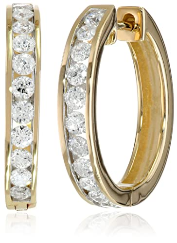 14k-Gold-Channel-Set-Diamond-Hoop-Earrings-1-cttw-H-I-Color-I1-I2-Clarity-