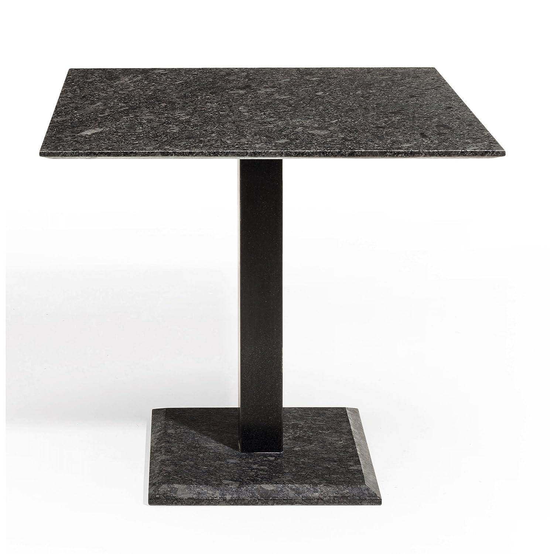 Studio 20 Gartentisch Outdoortisch Granittisch Edam Stahl 90 x 90 x 75 cm Tischplatte Pearl grey satiniert