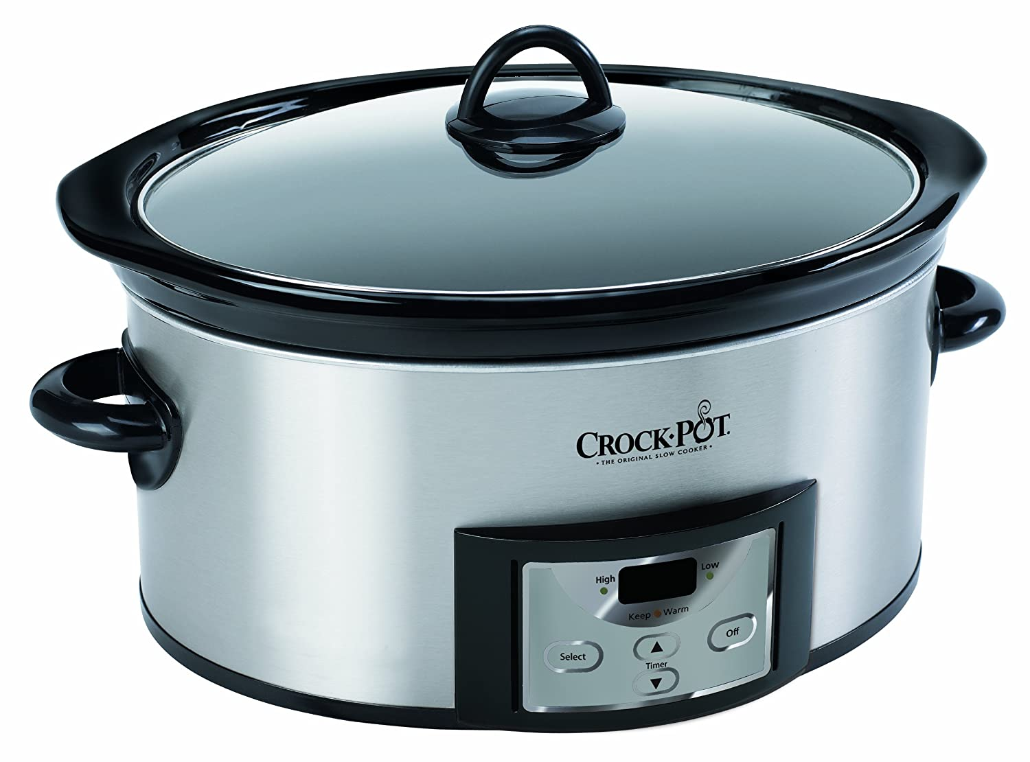 crock pot sccpvc605 s 6 quart countdown oval slow cooker with dipper stainless ebay. Black Bedroom Furniture Sets. Home Design Ideas