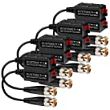 VIMVIP [Upgraded] 4 Pairs Split Joint Mini CCTV BNC HD-CVI/TVI/AHD Passive Video Balun Transceiver