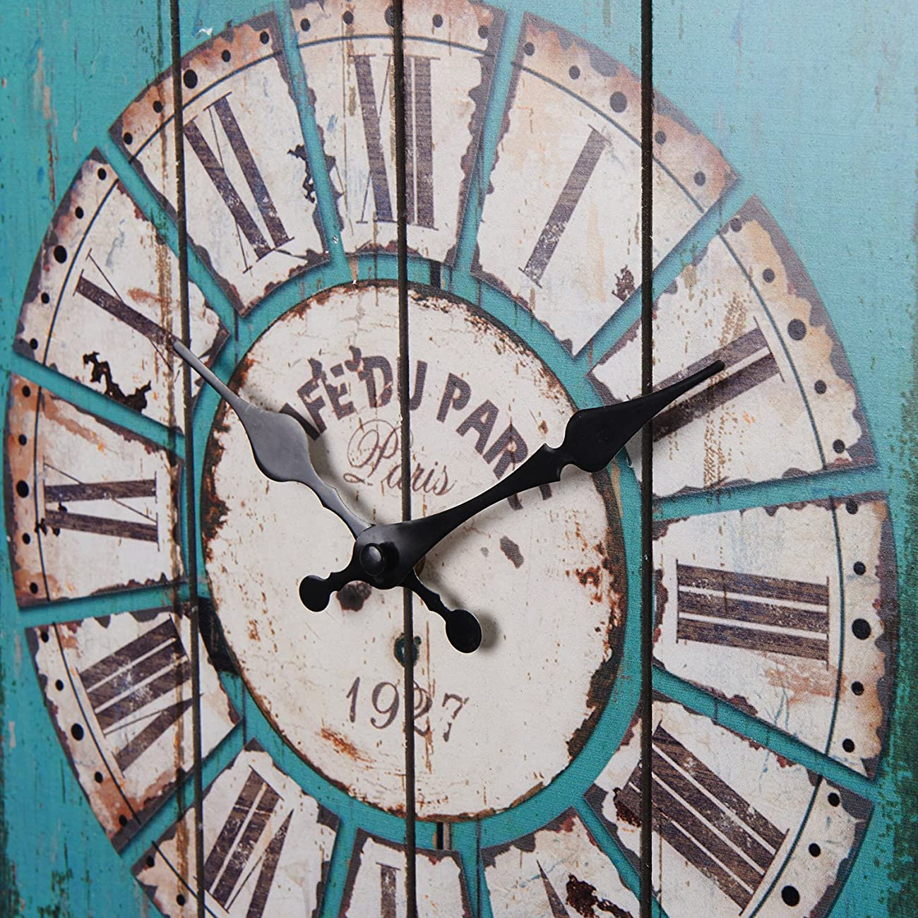 Aero Snail Vintage Retro Country Style Light Blue Wood Wall Clock Home Decor Watches 1