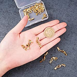 PH PandaHall 20 Sets Brass Lobster Claw Clasps Fold Over Cord End Caps Terminators Crimp End Tips for Jewelry Making, Golden (Color: Golden - 20 Sets)